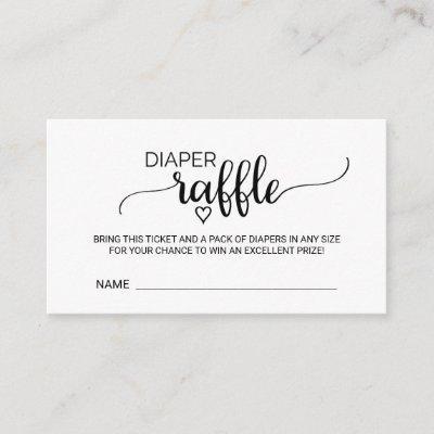 Simple Black Calligraphy Diaper Raffle Enclosure