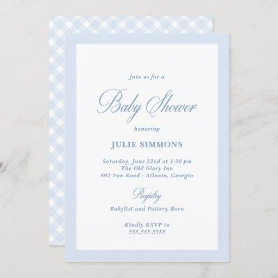 Simple Blue Baby Shower Classic Invitation