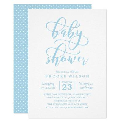 Simple Blue Baby Shower Invitations