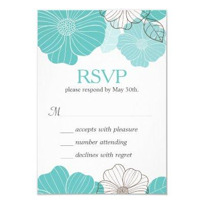 Simple Chic Mint Green Floral RSVP Respond Invitations
