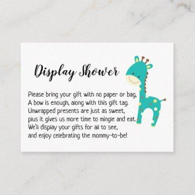 Simple Display Baby Shower Gift Card, Teal Giraffe Enclosure Card