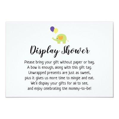 Simple Display Baby Shower Insert with Elephant Invitations