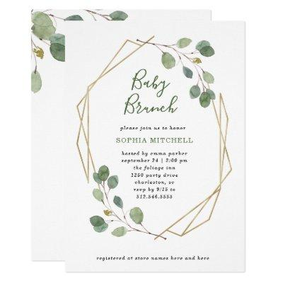 Simple Eucalyptus Greenery Geometric Baby Brunch Invitations