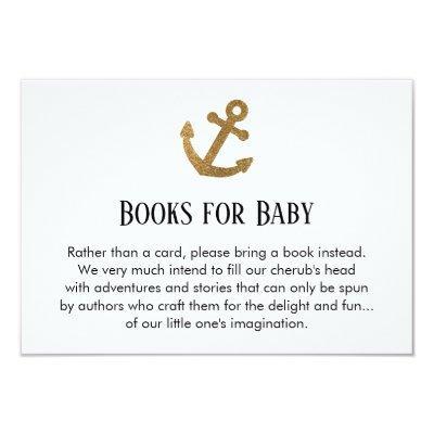 Simple Gold Glitter Anchor Book Request Invitations