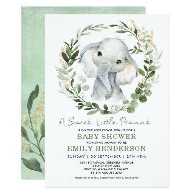 Simple Greenery Gold Elephant Baby Shower Sprinkle Invitation