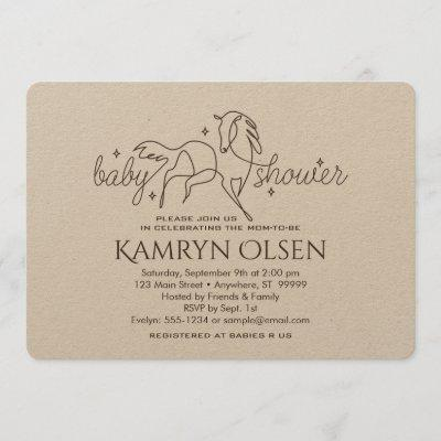 Simple Horse Baby Shower Invitation with girl poem