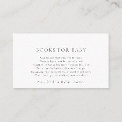 Simple Minimalist White Baby Shower Book Request Enclosure Card