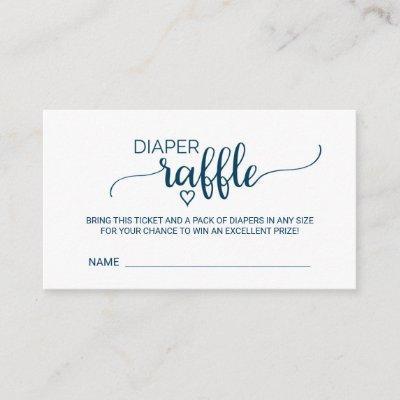Simple Navy Calligraphy Diaper Raffle Insert