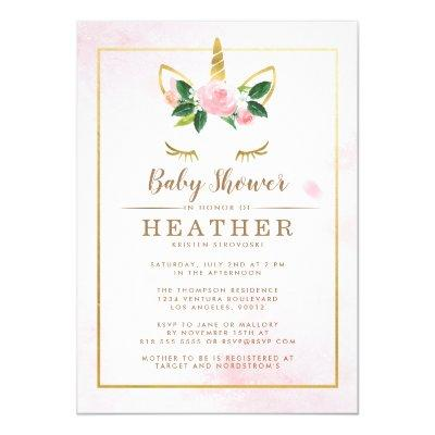 Simple Pink and Gold Unicorn Baby Shower Invitations