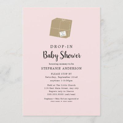 Simple pink DROP-IN Girl Baby Shower Invitation