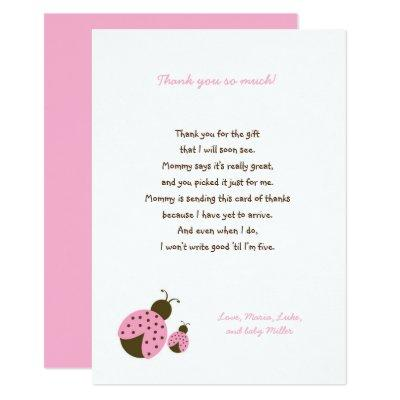 Simple Pink Ladybug baby shower thank you notes Invitations