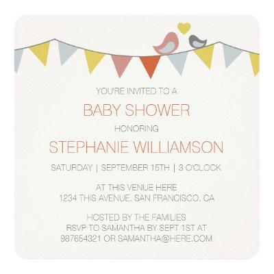 Simple, Trendy Birds & Bunting Baby Boy Shower Invitations
