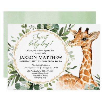 Sip and See Baby boy, giraffe baby shower Invitation