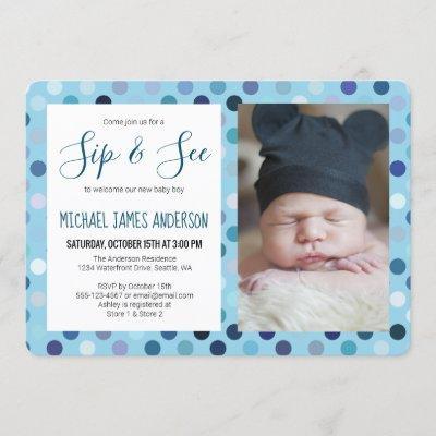 Sip and See Baby Boy Photo Blue Polka Dot Invitation