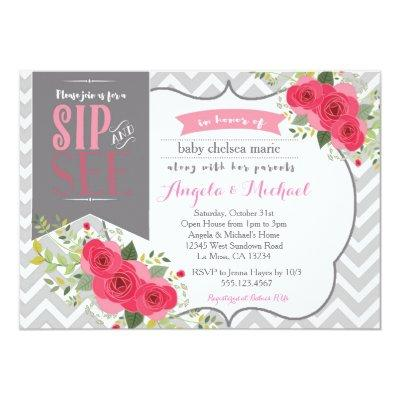 Sip and See Baby Girl Shower Invitations Pink