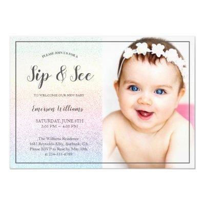 Sip and See Baby Shower Rainbow Chic Glitter Photo Invitation