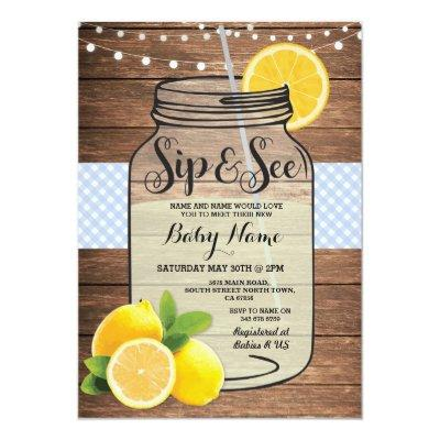 Sip and See Baby Shower Wood Rustic Blue Invite