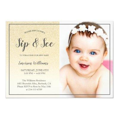 Sip and See Baby Shower Yellow Gold Glitter Photo Invitation