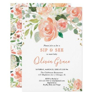 Sip and see floral watercolors greenery girl baby invitation