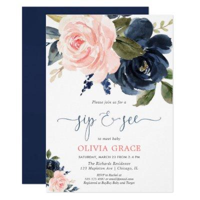 Sip and see girl blush pink navy blue floral invitation