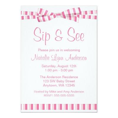 Sip and See Pink Stripe Ribbon Bow Invitation