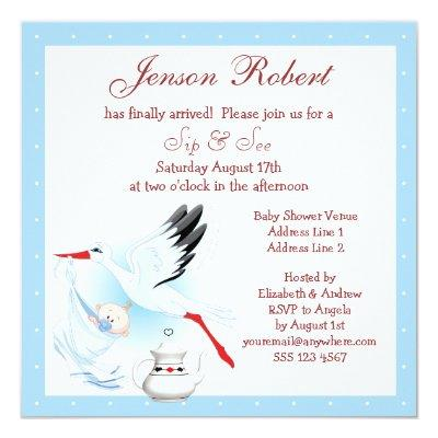 Sip & See Stork Delivering Baby Blue Baby Shower Invitations