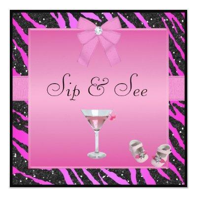 Sip & See Zebra Print Pink & Black Baby Shower Invitation