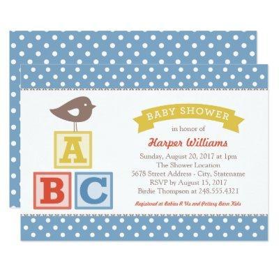 Slate Blue ABC Alphabet Blocks | Baby Boy Shower Invitation