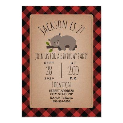 Sleepy Bear Cub Lumberjack Plaid Birthday Party Invitation