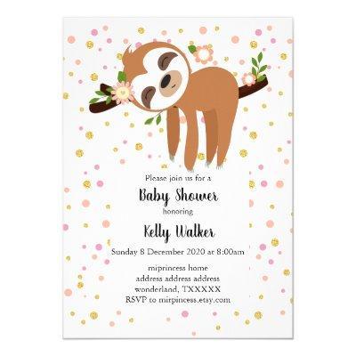 sloth, cute sloth, animal illustration invitation