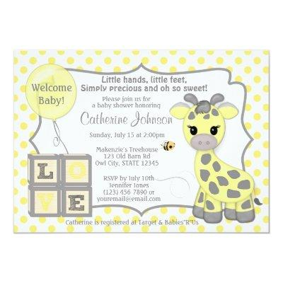 Snickerdoodle Giraffe Baby Shower Invitations YG