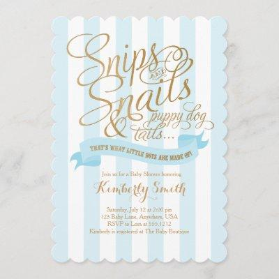 Snips and Snails Baby Boy Baby Shower Invitation