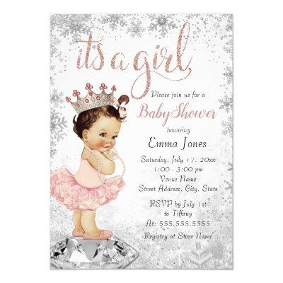 Snowflake Pink Silver Princess Girl Baby Shower Invitation