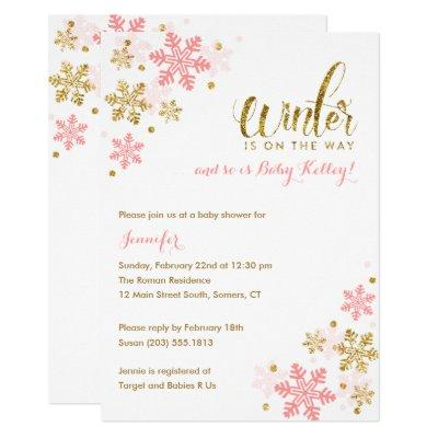 Snowflake Winter Baby Shower | Gold Pink Glitter Invitations