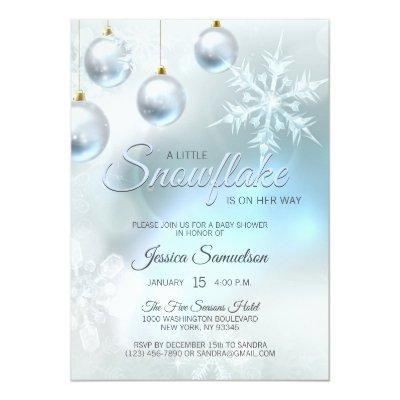 Snowflake Winter Blue Wonderland Baby Shower Invitation