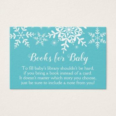 Snowflakes Baby Boy Shower Turquoise Bring a Book
