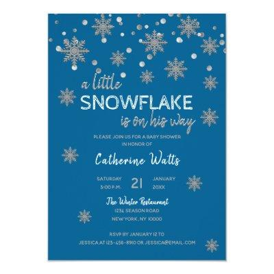 Snowflakes Blue Silver Grey BABY SHOWER | BOY Invitations