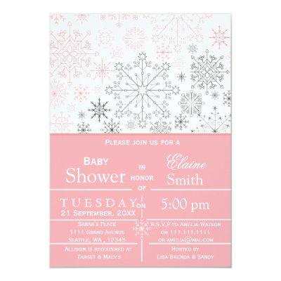 Snowflakes Pink Gray Winter Baby shower Invite