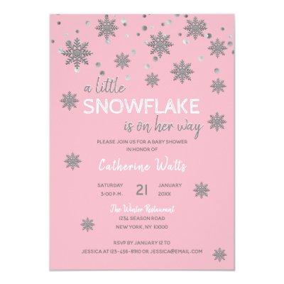 Snowflakes Pink Silver Grey BABY SHOWER | Girl Invitations