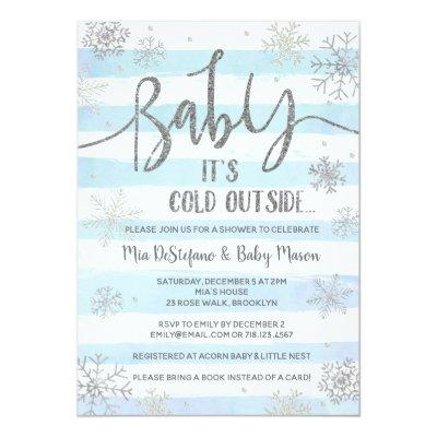 Snowflakes Winter Baby Shower Invitations