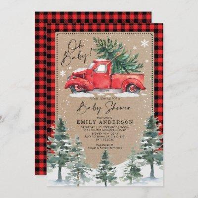 Snowy Winter Baby Shower Red Truck Pine Tree Invitation