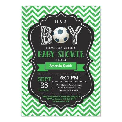 Soccer Baby Shower Invitations Green Chevron