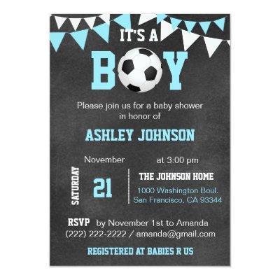 Soccer It's a Boy Baby Shower Chalkboard Blue Boy Invitations