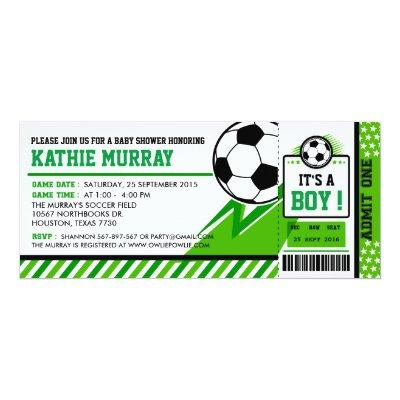 Soccer Ticket Pass Baby Shower Invitation