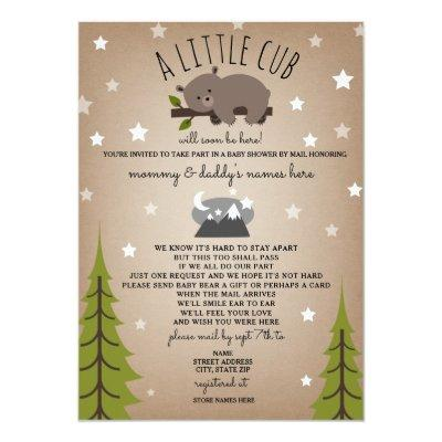 Social Distancing Baby Shower Mail Bear Brown Invitation