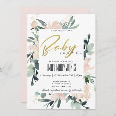 SOFT BLUSH FLORAL FRAME WATERCOLOR BABY SHOWER INVITATION