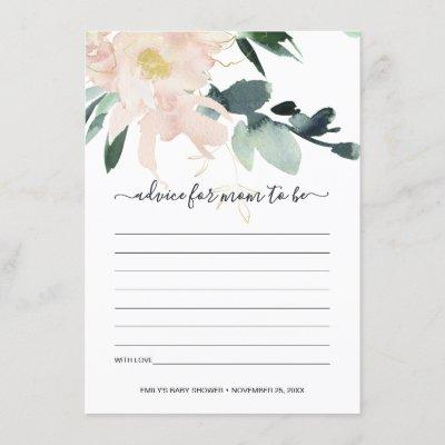 SOFT BLUSH FLORAL WATERCOLOR ADVICE BABY SHOWER ENCLOSURE CARD