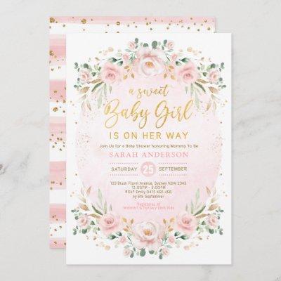 Soft Boho Blush Floral Wreath Girl Baby Shower Invitation