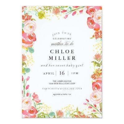 SOFT FLORAL baby shower invitation white
