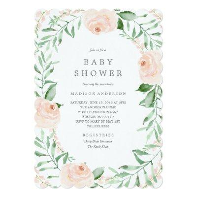 Soft Garden Florals Baby Shower Invitations